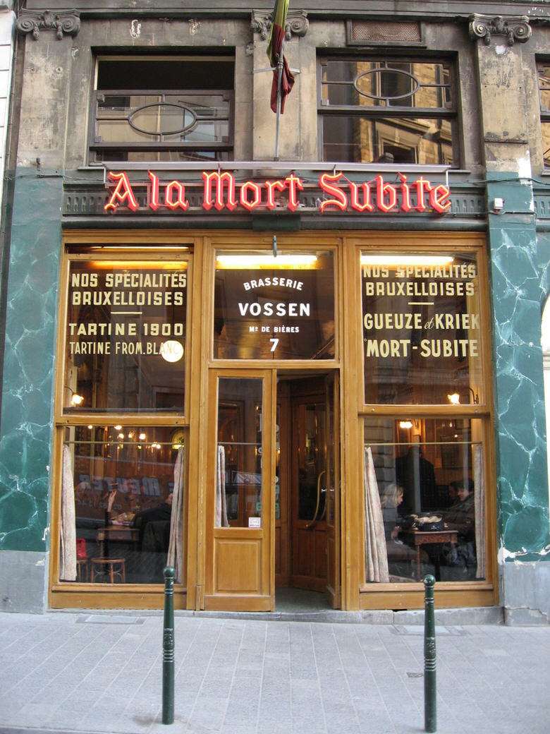 In front of the café A la Mort Subite