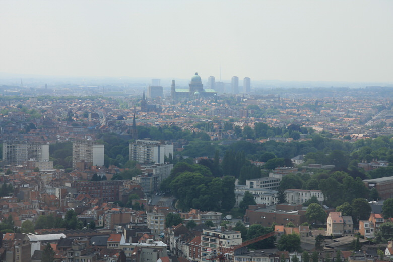 View of the city of Brussels from the top of the Atomium