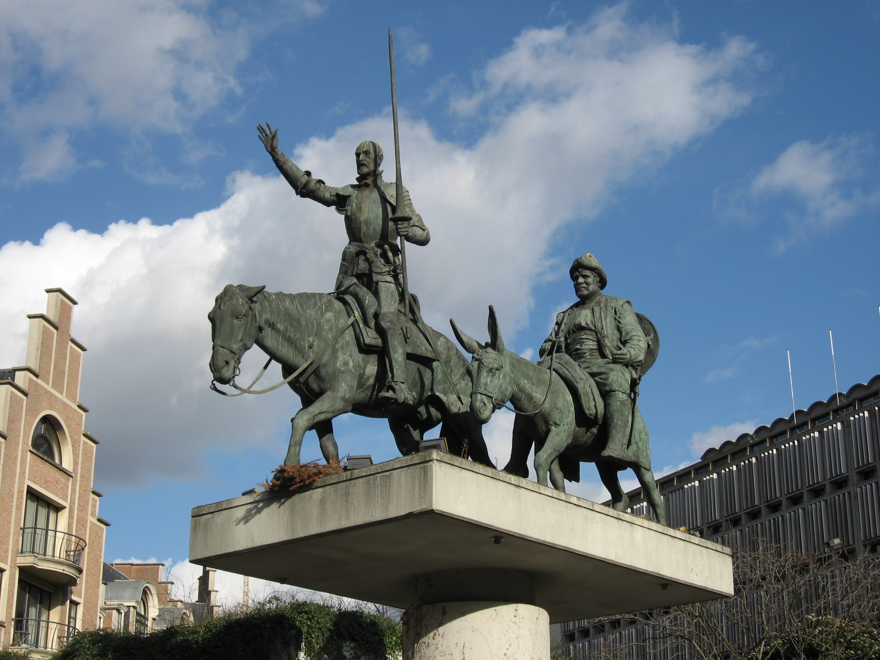 Don Quixote And Sancho Panza Statue At Place D Espagne These Are The Two Main Characters Depicted In Miguel De Cervantes Fictional Novel Quijote La