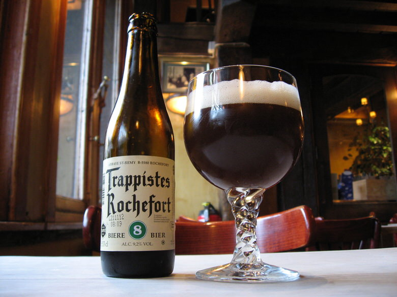 Trappiste Rochefort beer bottle and glass