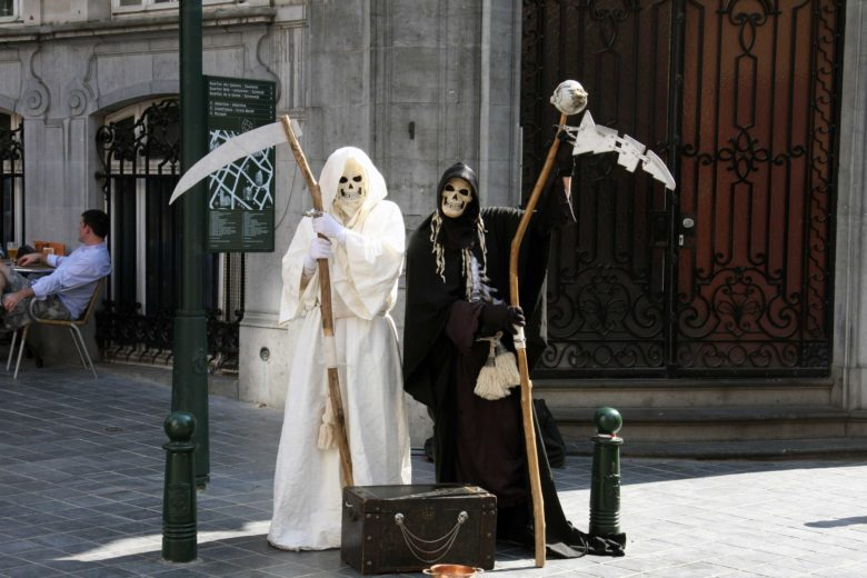 Grim Reaper mimes in Brussels