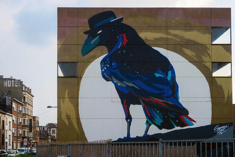Brussels Corvus Corone mural by Street Artist Pablo Sozyone Gonzalez