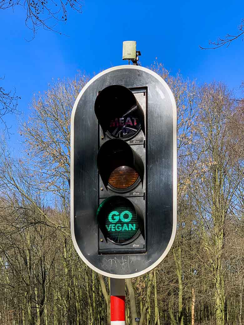 After going on in Berlin, a pro-vegan message have been popping up in Brussels on about two dozen lights traffic lights and particularly those at major crossroads of the capital. Apparently this was the work of an vegan and animal rights activist graffiti street artist going under the name of Misteruncertain.