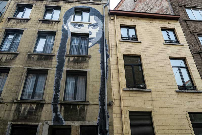A beautiful mural representing Swedish environmental activist Greta Thunberg has appreared on a building at Cité du Sureau 20, just a short walk away from the popular near the Marché aux Poissons (Fish Market) district in Brussels. Apparently, the owner of the house asked a friend of his, artist Henk De Ruddere aka ENCQ to do the mural on his facade.